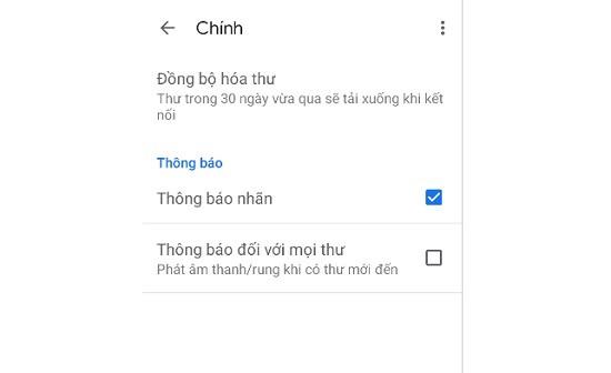 Cách bật thông báo gmail