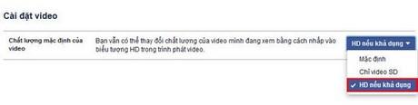 Cài đặt xem video HD trên Facebook