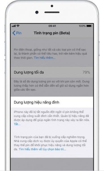 iPhone báo tình trạng pin bảo trì