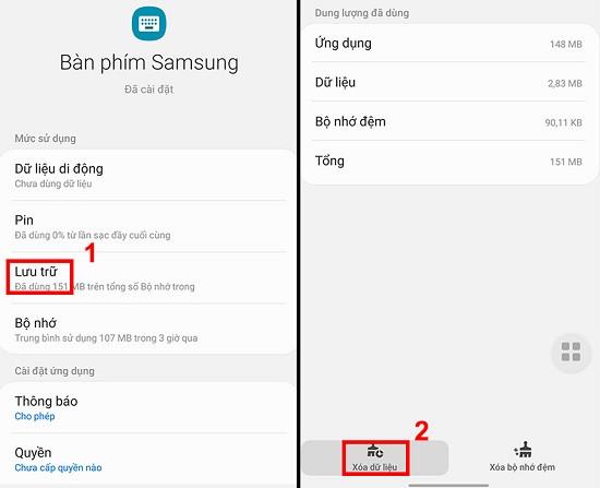 Xóa dữ liệu bàn phím Samsung