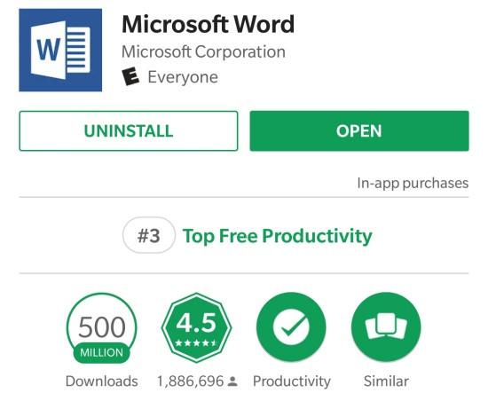 Ứng dụng mở Word