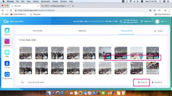 Khôi phục hình ảnh từ Thùng rác của Oppo Cloud