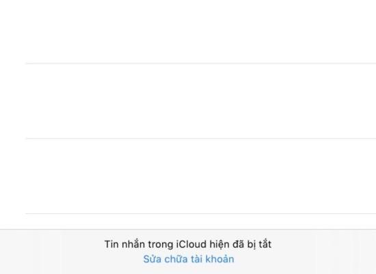 Tin nhắn trong iCloud hiện bị tắt