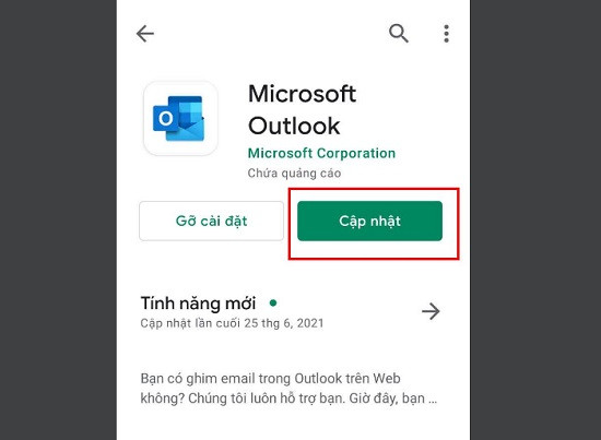 Kiểm tra ứng dụng outlook