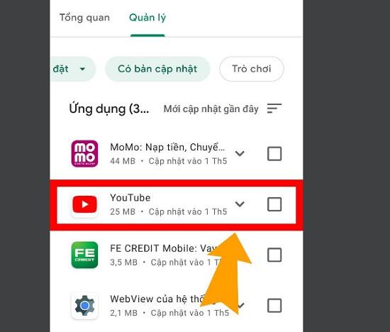 Cập nhật ứng dụng youtube