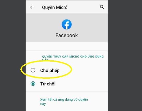 Cấp quyền cho ứng dụng Facebook trên Android