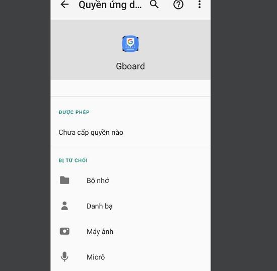 Tắt quyền truy cập Gboard trên Oppo