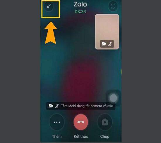 Thu nhỏ cuộc gọi video zalo trên iPhone