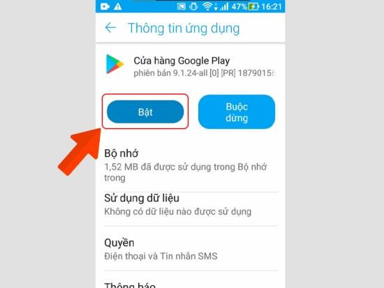 Bật lại CH Play trong danh sách các ứng dụng đã tắt