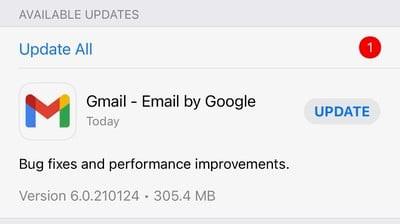 Ứng dụng Gmail cần được cập nhật