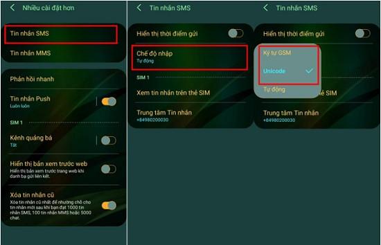 Chế độ nhập tin nhắn SMS Samsung