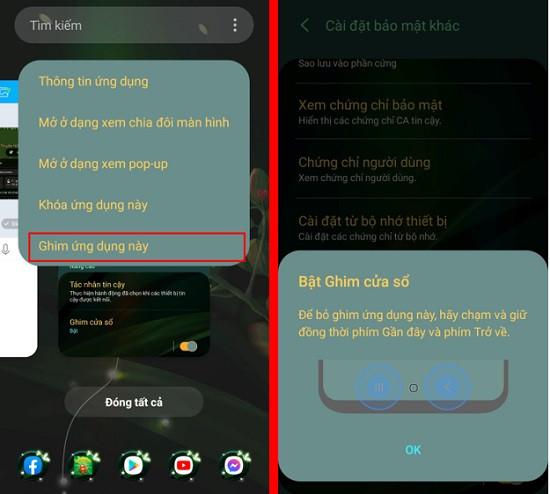 Ghim cửa sổ ứng dụng trên Android
