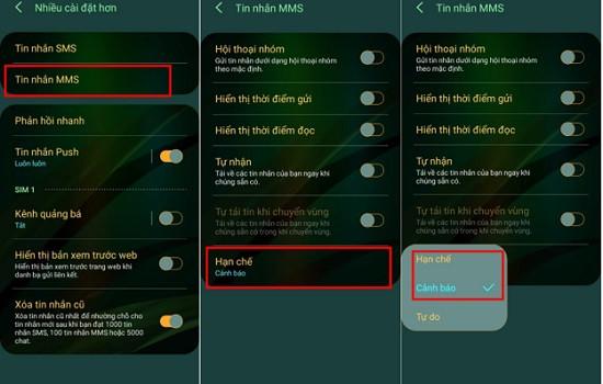 Hạn chế tin nhắn MMS trên Samsung