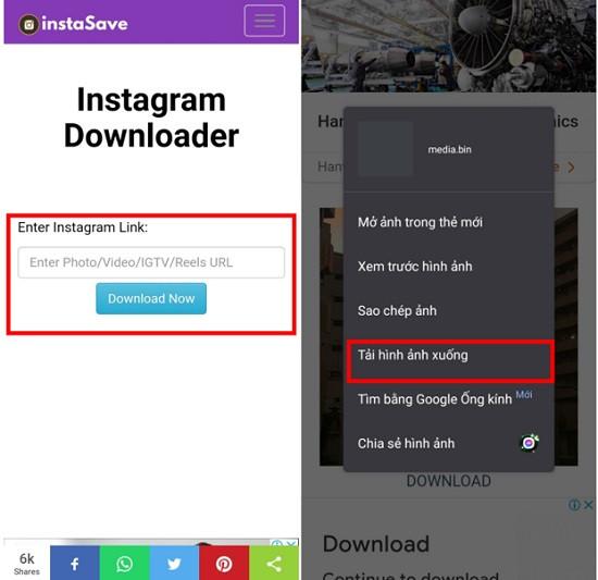 Lưu ảnh từ ứng dụng instagram về điện thoại