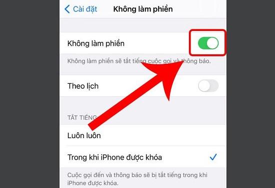 iPhone 12 đang bật chế độ không làm phiền