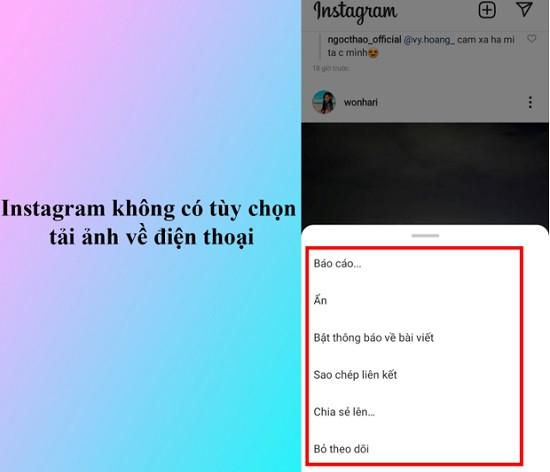 Nguyên nhân không thể lưu ảnh từ Instagram về điện thoại