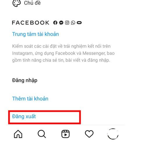 Thoát và đăng nhập lại instagram