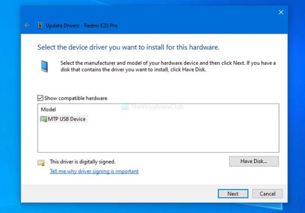 Cài đặt driver MTP USB Device