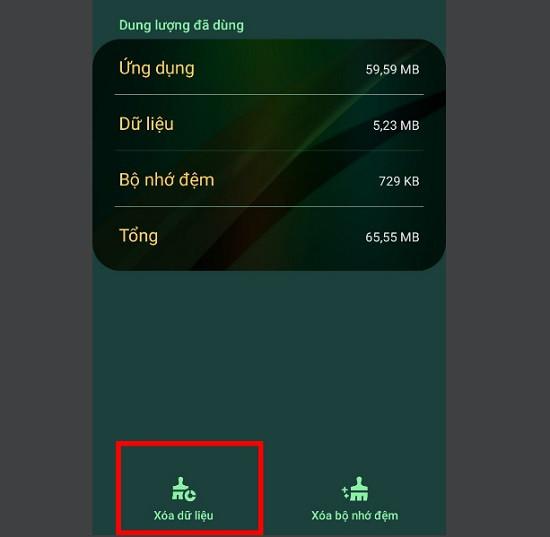 Xóa dữ liệu ứng dụng tin nhắn Samsung