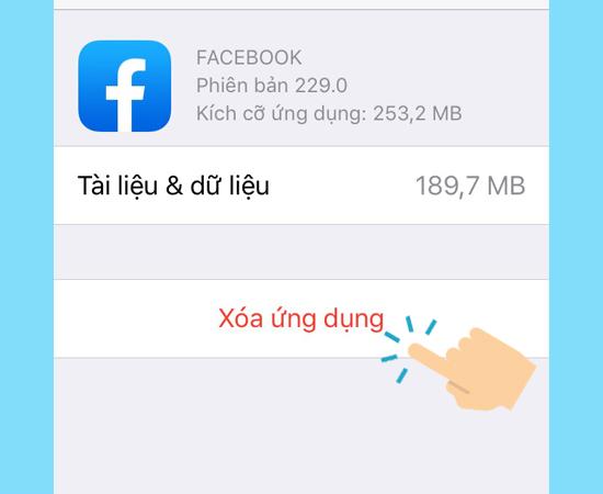 Xóa ứng dụng Facebook trên iPhone