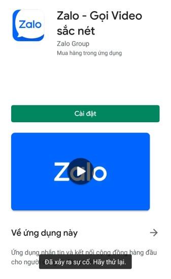 Android không tải được Zalo