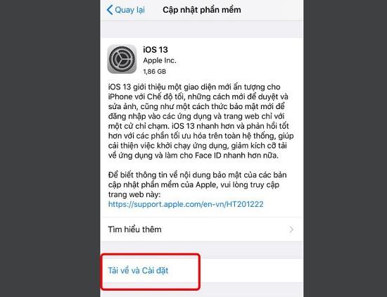 Cập nhật phần mềm iPhone 11 Pro Max