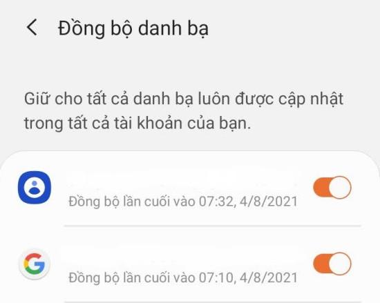 Đồng bộ danh bạ từ Samsung Account