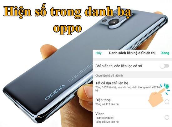 Hiện số trong danh bạ Oppo