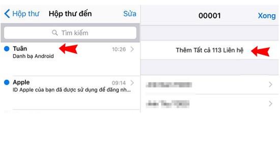 Lấy danh bạ từ Samsung sang iPhone
