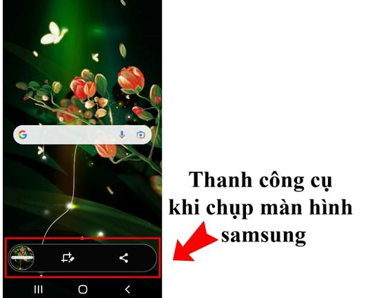 Thanh công cụ khi chụp màn hình Samsung