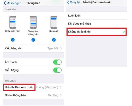 Thông báo Messenger hiện nội dung tin nhắn trên iOS