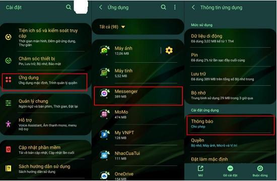 Thông báo Messenger hiển thị nội dung tin nhắn
