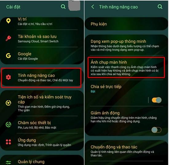 Tính năng nâng cao điện thoại Samsung
