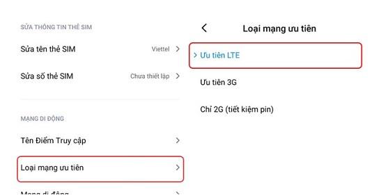Ưu tiên LTE Xiaomi