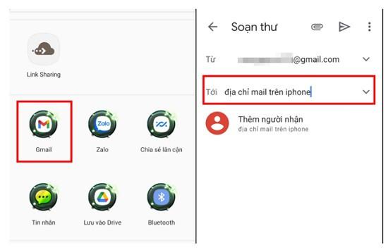 Bấm vào chia sẻ qua Gmail