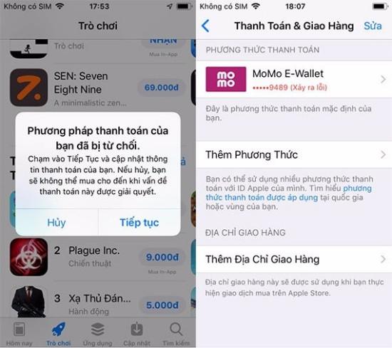 App Store bị lỗi phương thức thanh toán