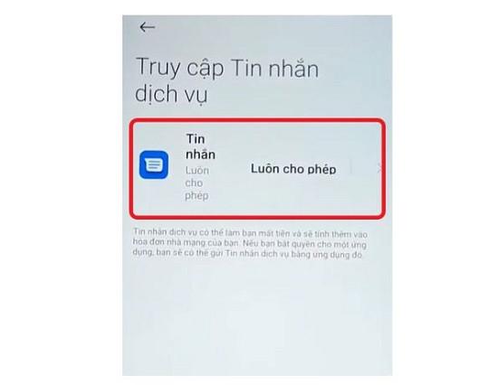 Bật truy cập tin nhắn dịch vụ trên Xiaomi
