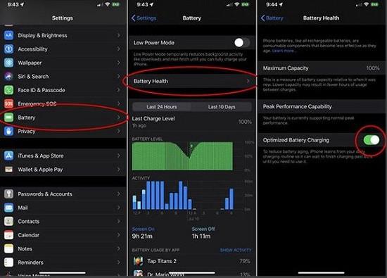 Điều chỉnh tối ưu hóa sạc pin iPhone 12