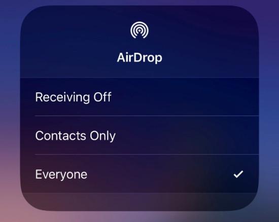 Kiểm tra chế độ hiển thị của Airdrop