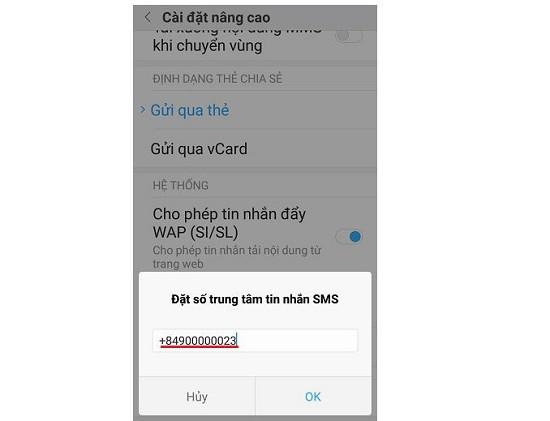 Thay đổi số trung tâm tin nhắn Xiaomi