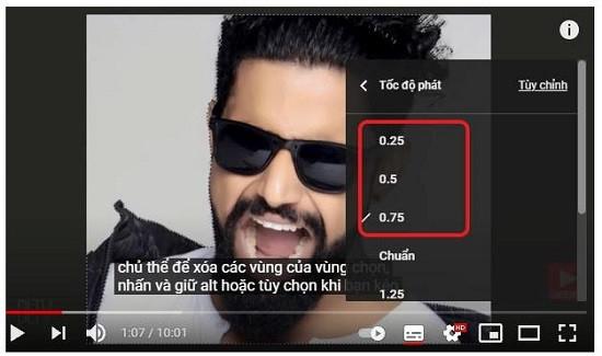 Làm chậm phụ đề video youtube trên máy tính
