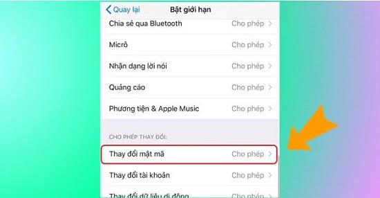 Thay đổi mật mã iPhone