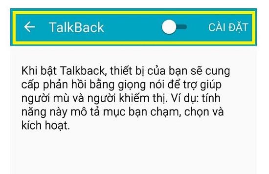 Tính năng talkback