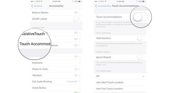 Điều chỉnh độ nhạy màn hình bằng Touch Accommodations trên iPhone 3