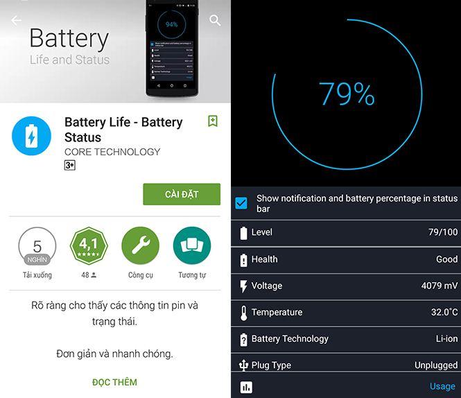 Phần mềm Battery Life kiểm tra PIN cho Android