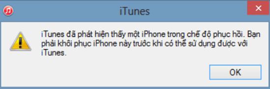 iTunes thông báo đã phát hiện thiết bị