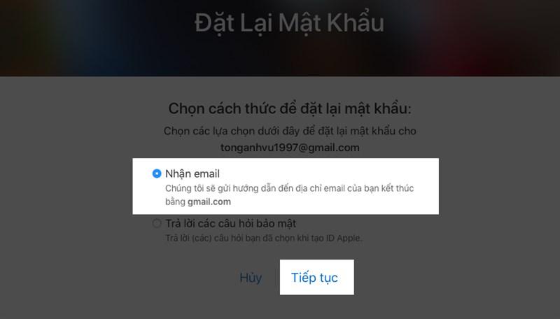 bạn chọn nhận email và bấm tiếp tục