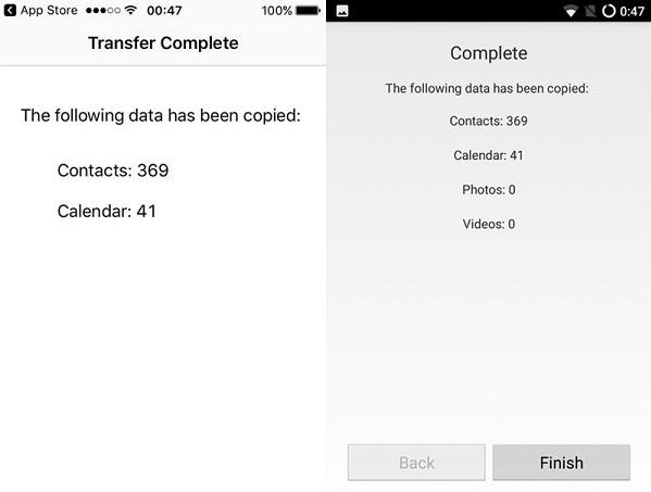 khi nào chuyển hết dữ liệu rồi bấm Finish là xong.