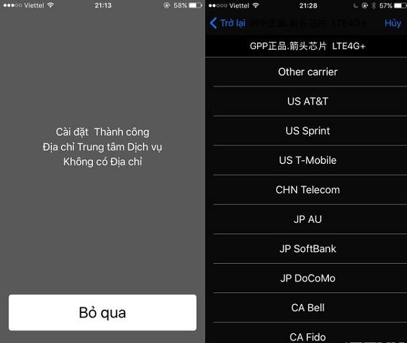 Kích hoạt bảng chọn nhà mạng của SIM ghép