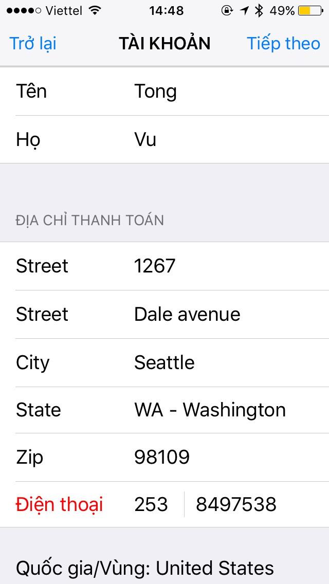 Thực hiện nhập địa chỉ này tại mụcTài khoảntrên iPhone để chuyển đổi.